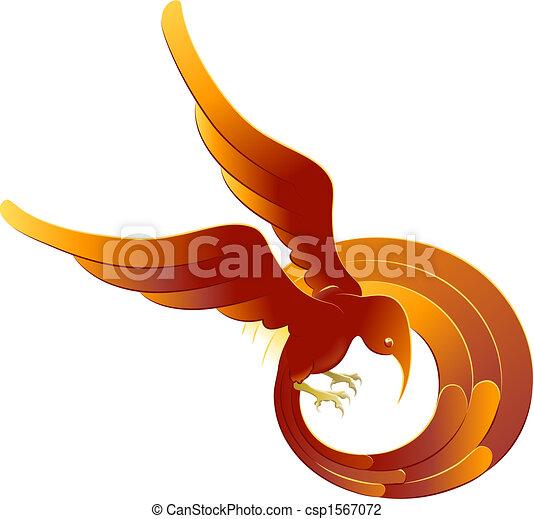 A swooping fiery bird - csp1567072
