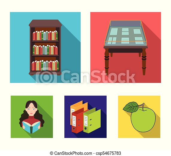 A table with old documents, bookshelves, folders, a visitor. A library and a bookstore set collection icons in flat style vector symbol stock illustration web. - csp54675783