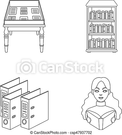 A table with old documents, bookshelves, folders, a visitor. A library and a bookstore set collection icons in outline style vector symbol stock illustration web. - csp47937702