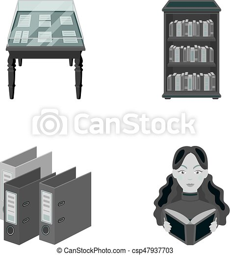 A table with old documents, bookshelves, folders, a visitor. A library and a bookstore set collection icons in monochrome style vector symbol stock illustration web. - csp47937703
