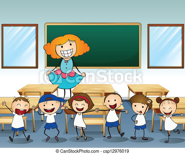 A teacher and her students - csp12976019