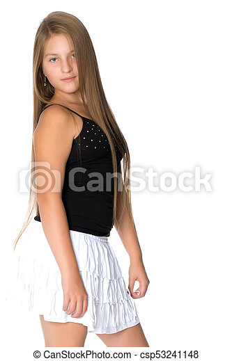 A teenage girl in a short dress. isolated on white background. 13ba9438b2e7