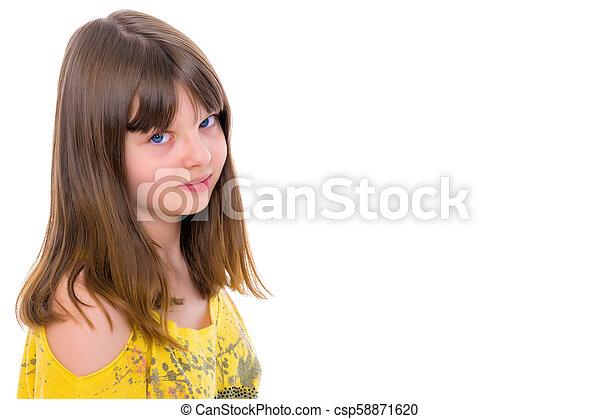 A teenage girl in a short dress. - csp58871620