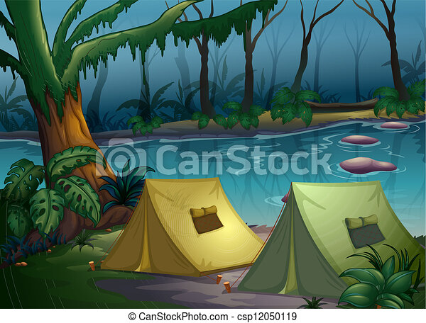 illustration of a tent camp in the woods near a river