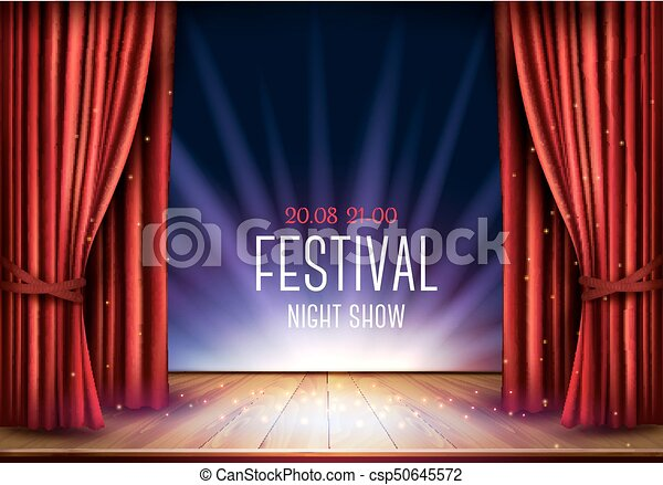 A theater stage with a red curtain and a spotlight  Festival night show  background  Vector
