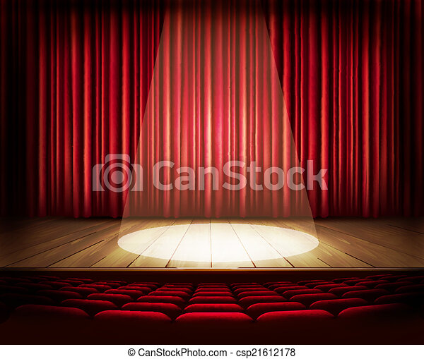 A theater stage with a red curtain, seats and a spotlight. Vecto - csp21612178
