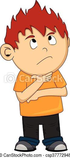 A thinking boy cartoon - csp37772948