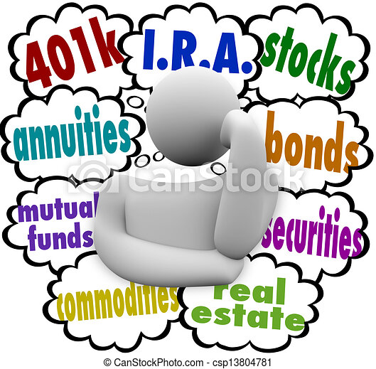 A thinking person wonders what are the best choices for investing for the future, with the words 401k, annuity, mutual funds, I.R.A., real estate, stocks, bonds, securities, and real estate - csp13804781