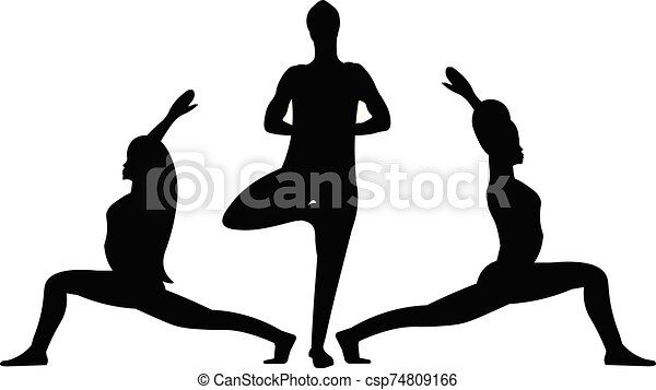 A Three Black Forms Silhouettes Of Young Flexible Characters In Position Yoga Pose Indian East Asana One Woman Is Stretches
