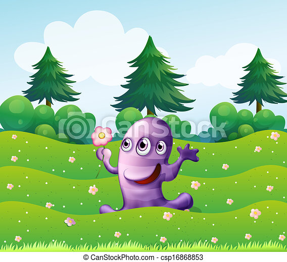 A  three-eyed violet monster above the hill - csp16868853