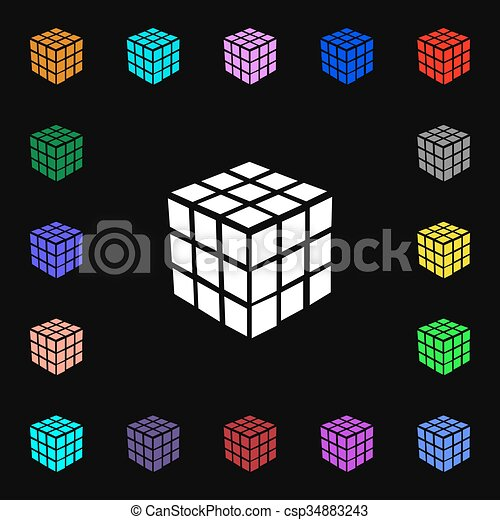 A Three Sided Cube Puzzle Box In 3d Icon Sign Lots Of Colorful