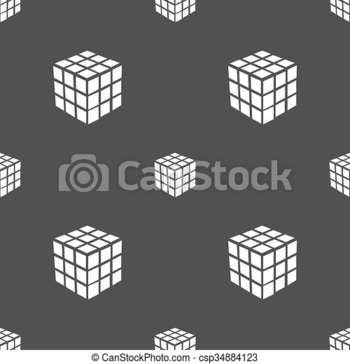 A three sided cube puzzle box in 3D icon sign. Seamless pattern on a gray background. Vector - csp34884123