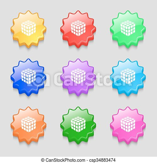A three sided cube puzzle box in 3D icon sign. symbol on nine wavy colourful buttons. Vector - csp34883474