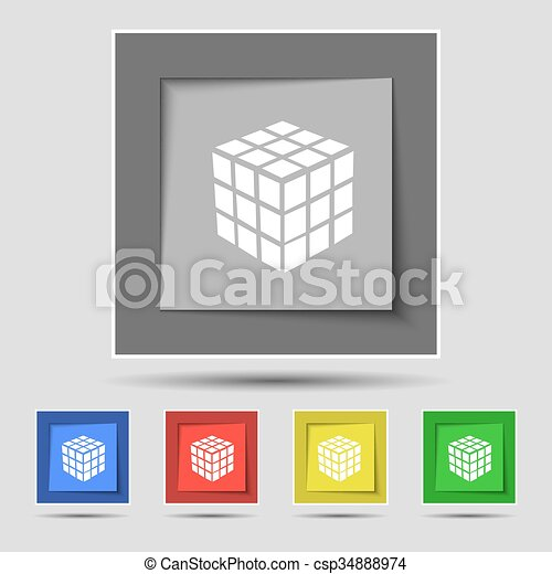A three sided cube puzzle box in 3D icon sign on original five colored buttons. Vector - csp34888974