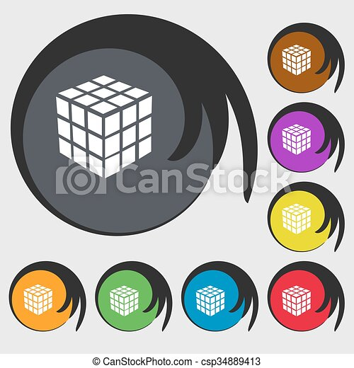 A three sided cube puzzle box in 3D icon. Symbols on eight colored buttons. Vector - csp34889413