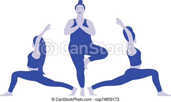 A Three Young Ladies Various Weight In Position Yoga Pose Indian East Asana One Woman Is Stretches Her Shoulders And Back