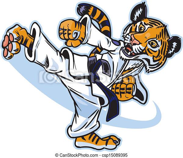 A Tiger Cub Martial Artist Kicking - csp15089395