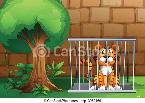 A tiger inside the animal cage - csp13062166