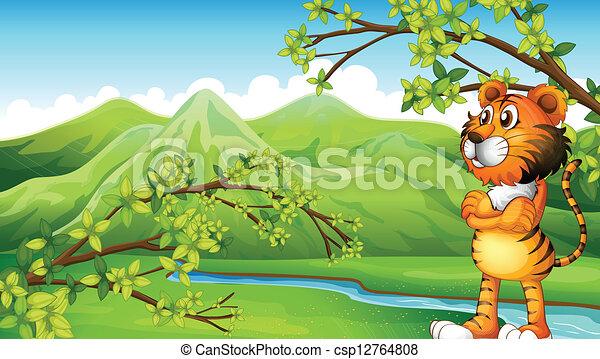 A tiger near the mountain - csp12764808