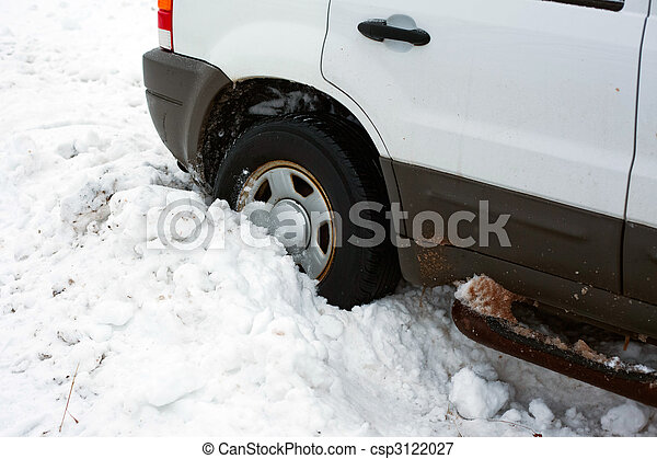 a tire stuck in snow - csp3122027