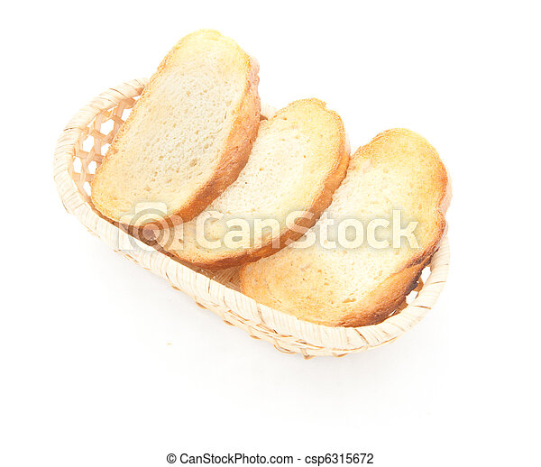 A toasted bread slices for breakfast isolated - csp6315672