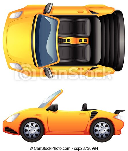 A top and side view of a sports car - csp23736994