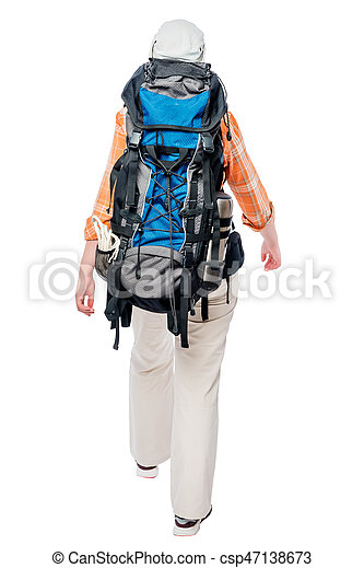 A tourist is walking, with a heavy big backpack, a back view on a white background - csp47138673