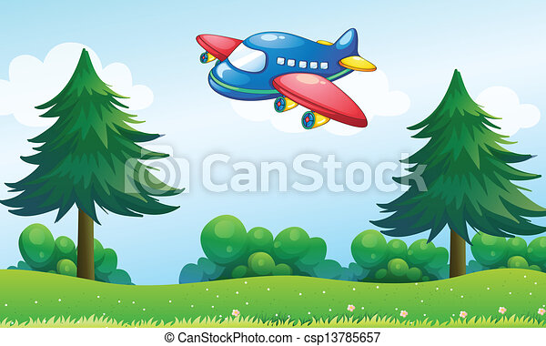 A toy plane flying above the hill - csp13785657