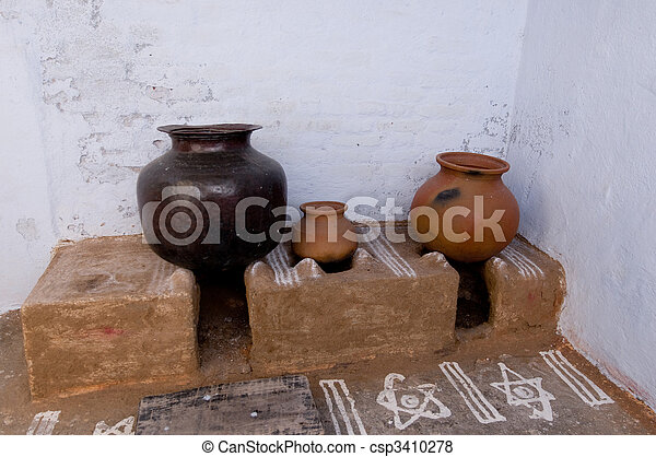 a traditional old indian kitchen