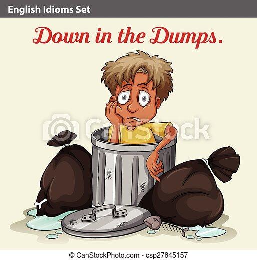 A trashbin with a boy - csp27845157