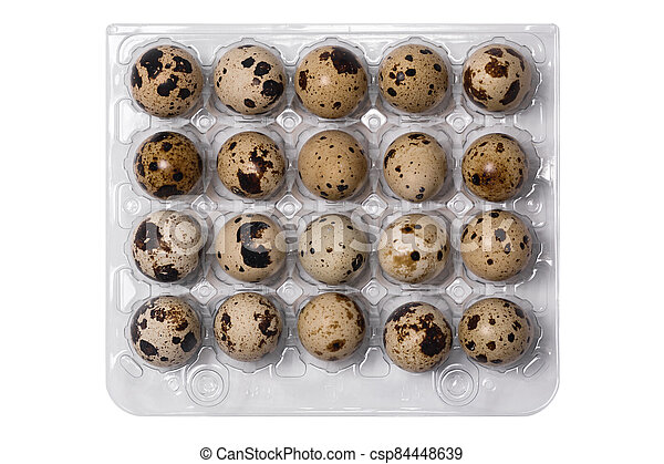 A tray of quail eggs. View from above. - csp84448639