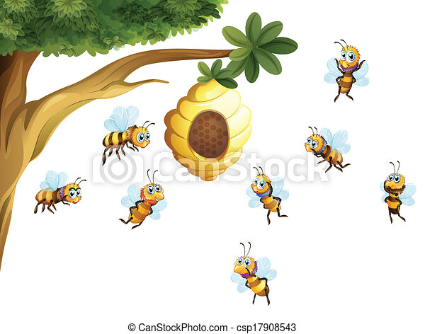 A tree with a beehive surrounded by bees - csp17908543