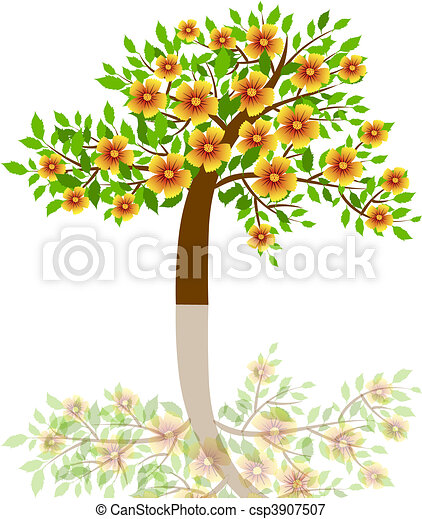 a tree with beautiful flowers - csp3907507