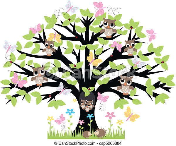 a tree with lot of animals - csp5266384