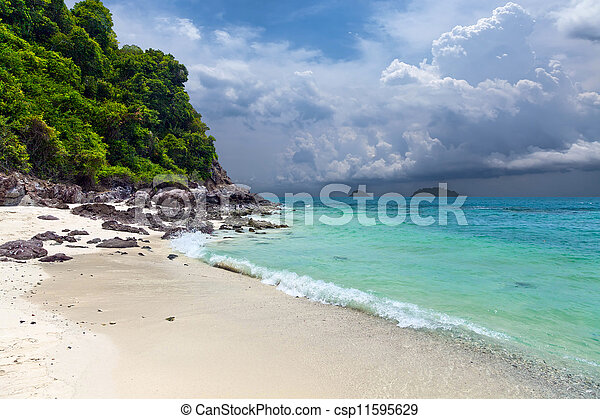 A tropical island with sandy beach - csp11595629