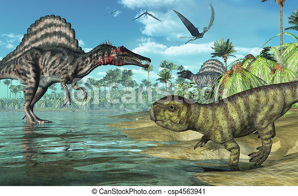 A tropical prehistoric scene with several dinosaurs, including two spinosauruses, a psittacosaurus in the foreground, and three dorygnathuses in flight. 3D render - csp4563941
