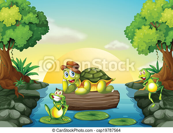 A turtle and the two frogs at the river - csp19787564