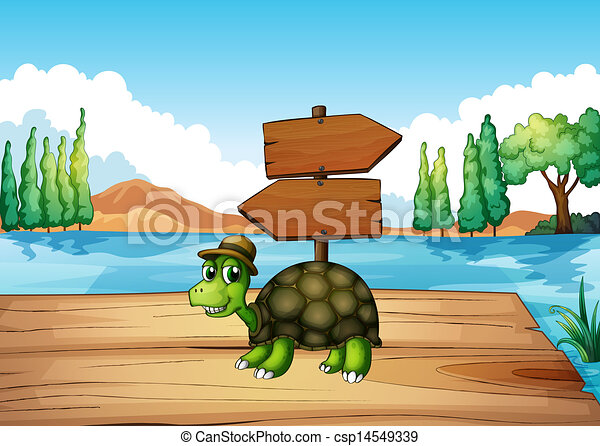 A turtle at the wooden bridge with an empty signboard - csp14549339
