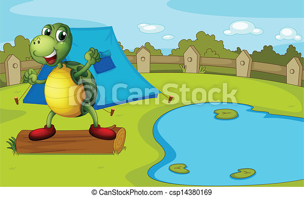 A turtle beside the pond inside a fence - csp14380169