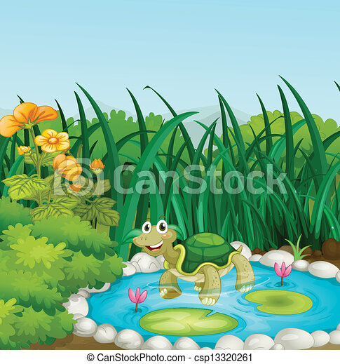 A turtle in the pond with waterlilies - csp13320261