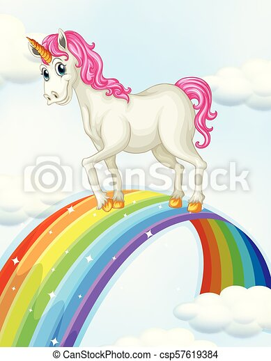 A Unicorn on the Rainbow - csp57619384