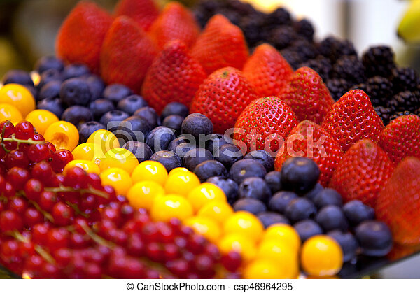 A variety of fresh berries in stock - csp46964295