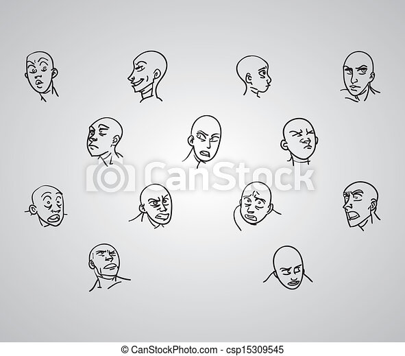 a variety of hand drawn male faces negative