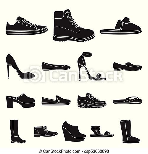 5a573c16365a A Variety Of Shoes Black Icons In Set Collection For Design. Boot, Sneakers  Vector Symbol Stock Web