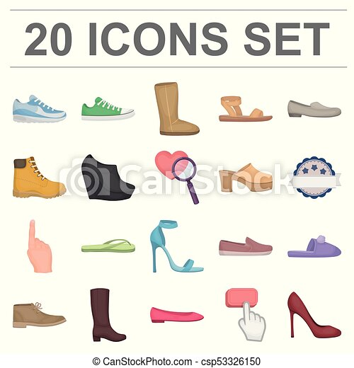 a796977bf4ee A Variety Of Shoes Cartoon Icons In Set Collection For Design. Boot,  Sneakers Vector Symbol Stock