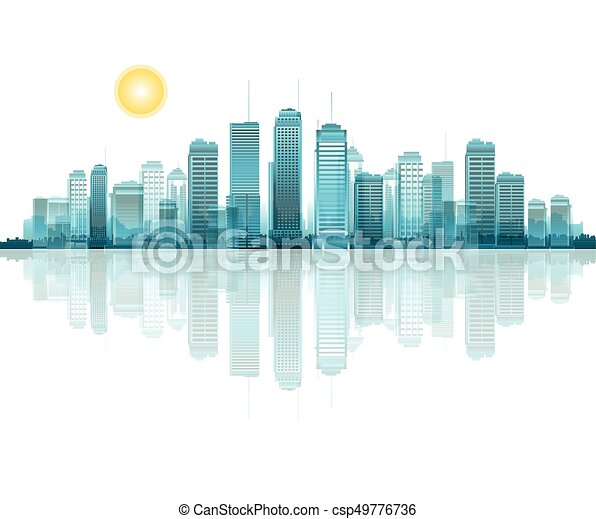A vector cityscape with reflection - csp49776736