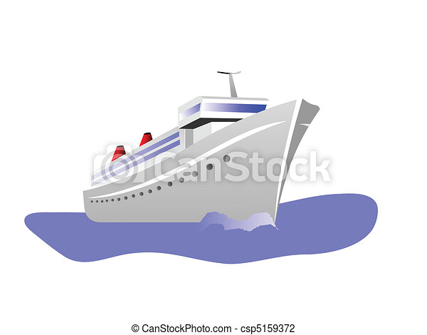 A Vector illustration of a cruise ship isolated on white - csp5159372