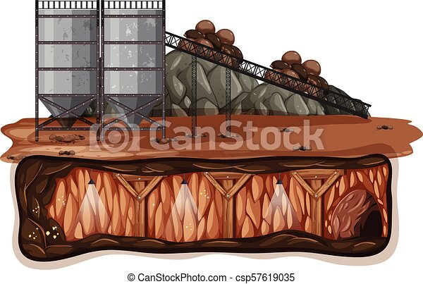 A Vector of Mining on White Background - csp57619035