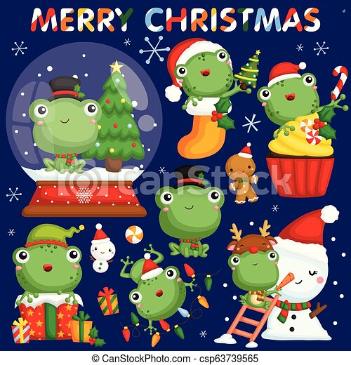 Christmas Celebration Cartoon Images.A Vector Set Of Cute Little Frogs In Various Poses And Costume For Christmas Celebration