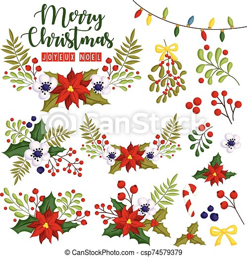 A Vector Set of Flower Assembled in Beautiful Christmas Wreath - csp74579379